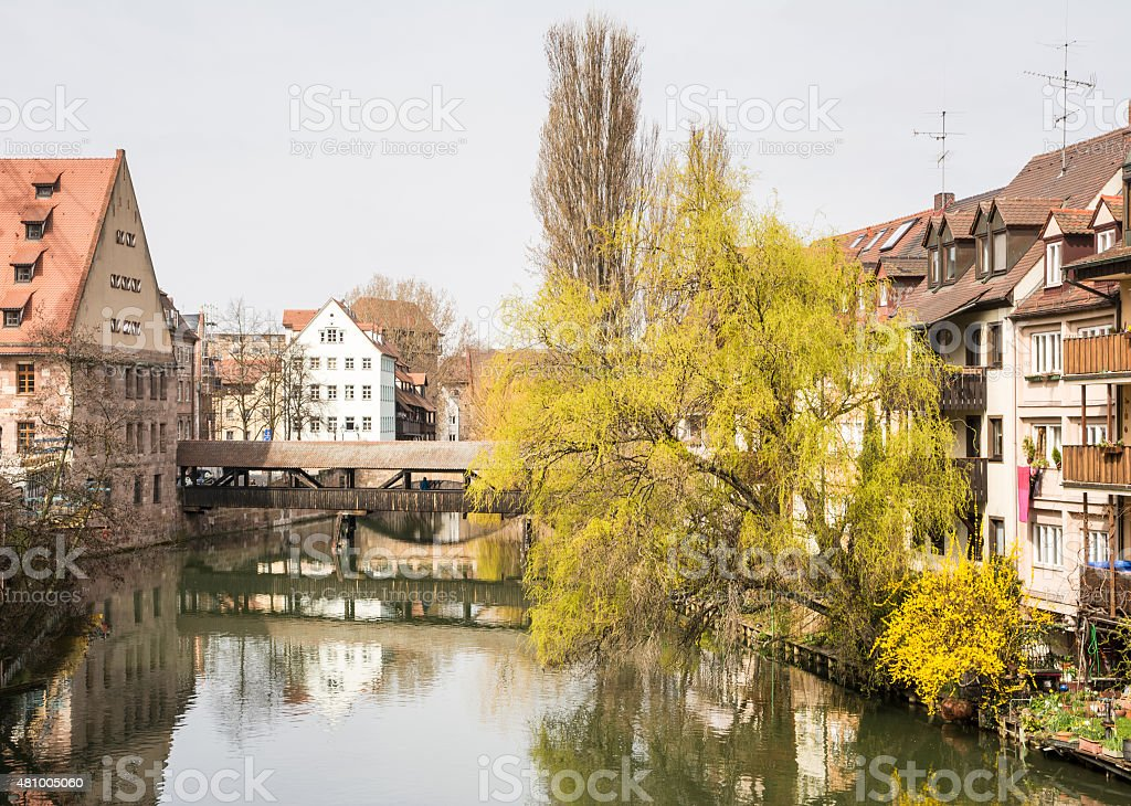 Nuremberg at the river Pegnitz stock photo