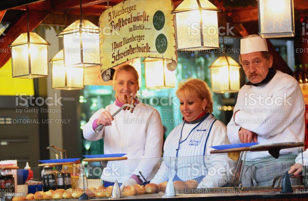 Nuremberg Bratwurst - Three in a bun (Drei im Weggla) stock photo