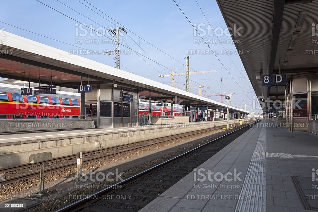 Nuremberg Central Station Platform stock photo