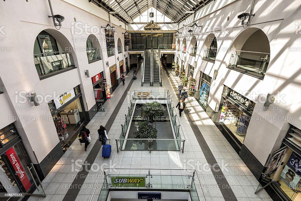 Nuremberg Central Train Station Interior Shopping Area stock photo