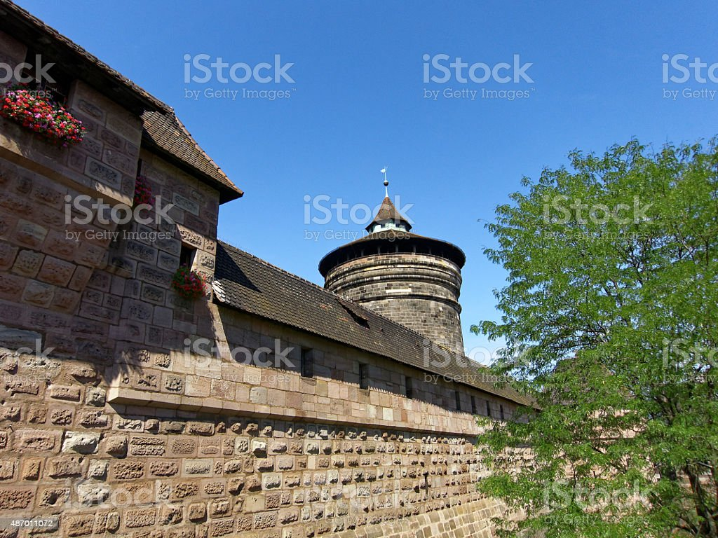nuremberg city wall with watchtower stock photo