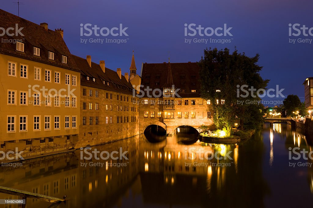 Nuremberg Germany River Pegnitz Heilig-Geist-Spital stock photo