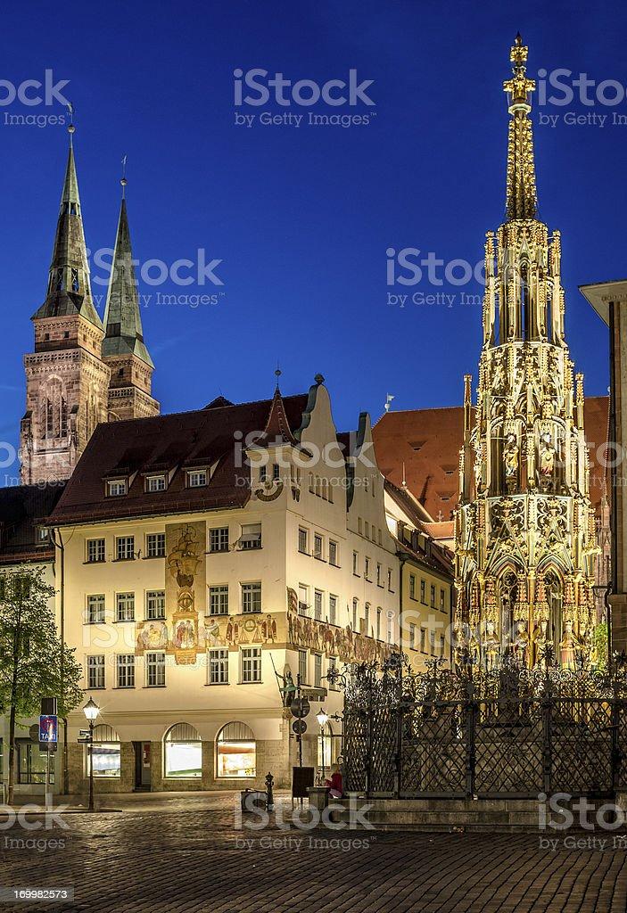 Nuremberg Hauptmarkt at night stock photo