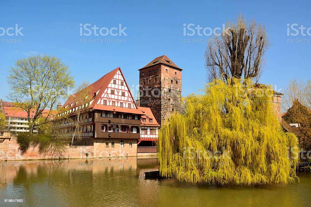 Nuremberg old town district stock photo