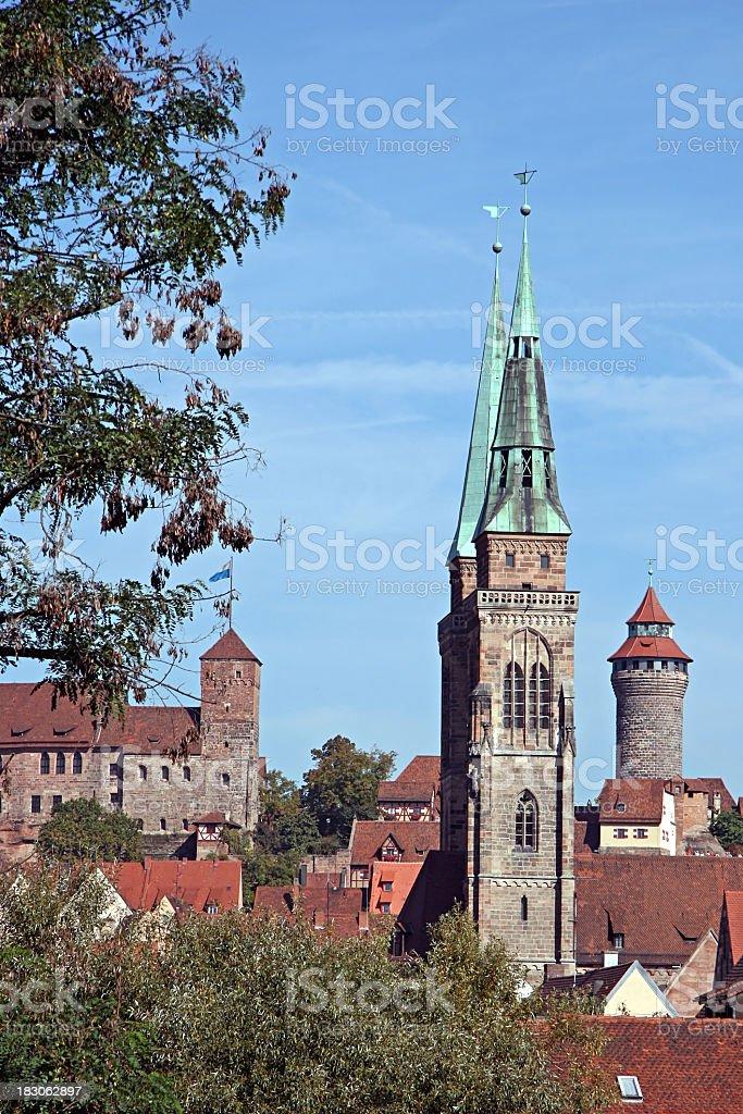 nuremberg Sebaldus church with castle stock photo