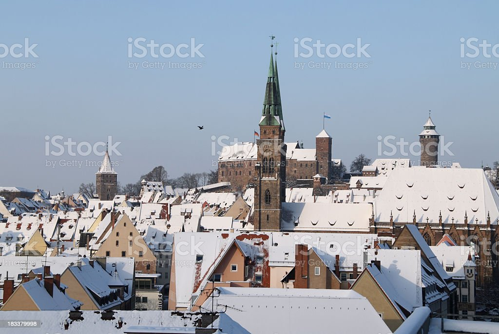 Nuremberg St. Sebaldus church with castle stock photo