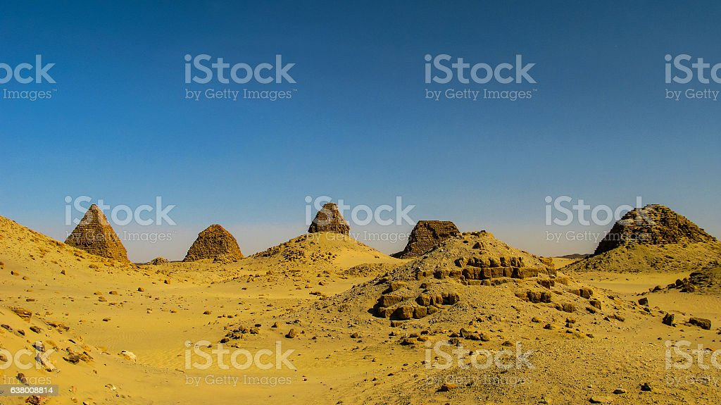 Nuri pyramids in desert, Napata Karima region Sudan stock photo