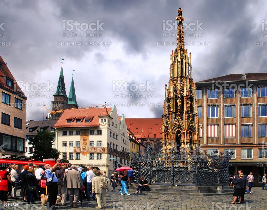 Nurnberg, Germany - Hauptmarkt, the central square of Nuremberg, stock photo