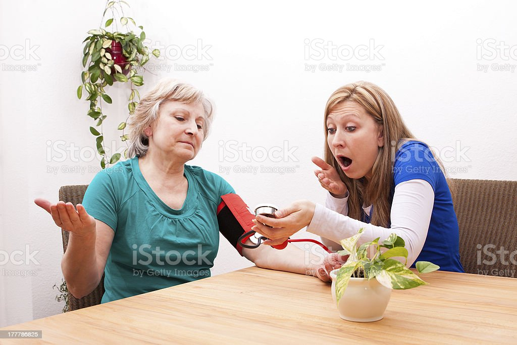 Nurse and patient are surprised by the blood pressure stock photo
