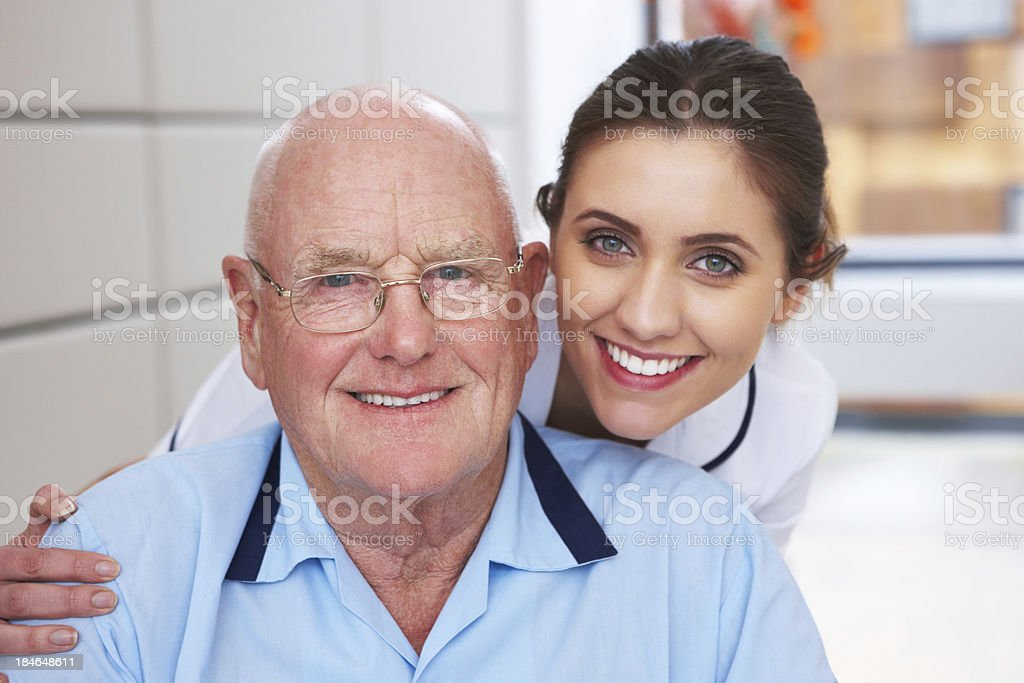 Nurse and Senior Man Portrait royalty-free stock photo