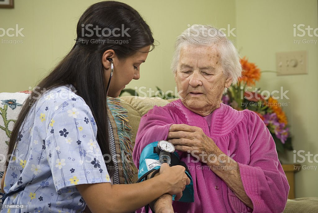 Nurse assisting eldery with a blood pressure test. royalty-free stock photo