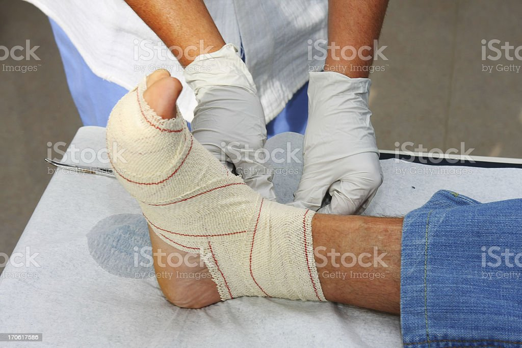 Nurse at work,changing bandage on wounded patients ancle royalty-free stock photo