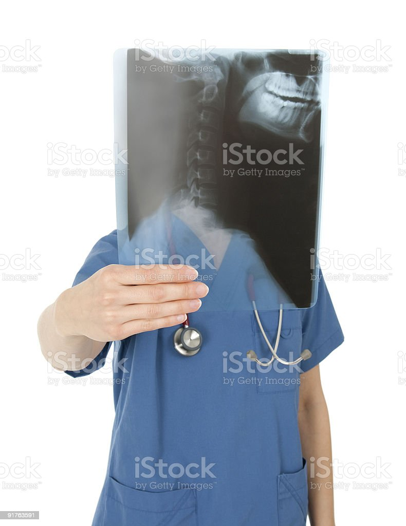 Nurse behind an x-ray image stock photo