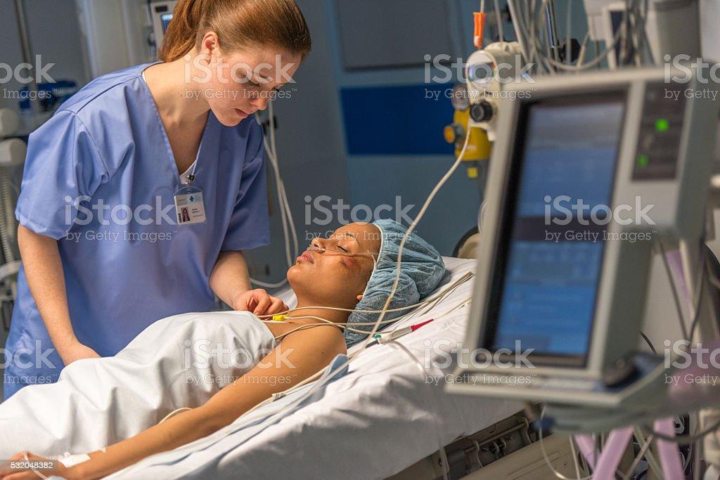 Nurse caring patient stock photo