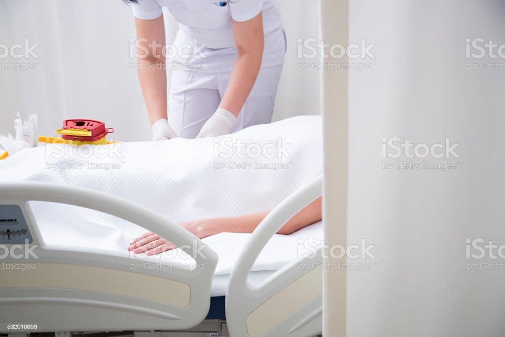 Nurse controlling the patient stock photo