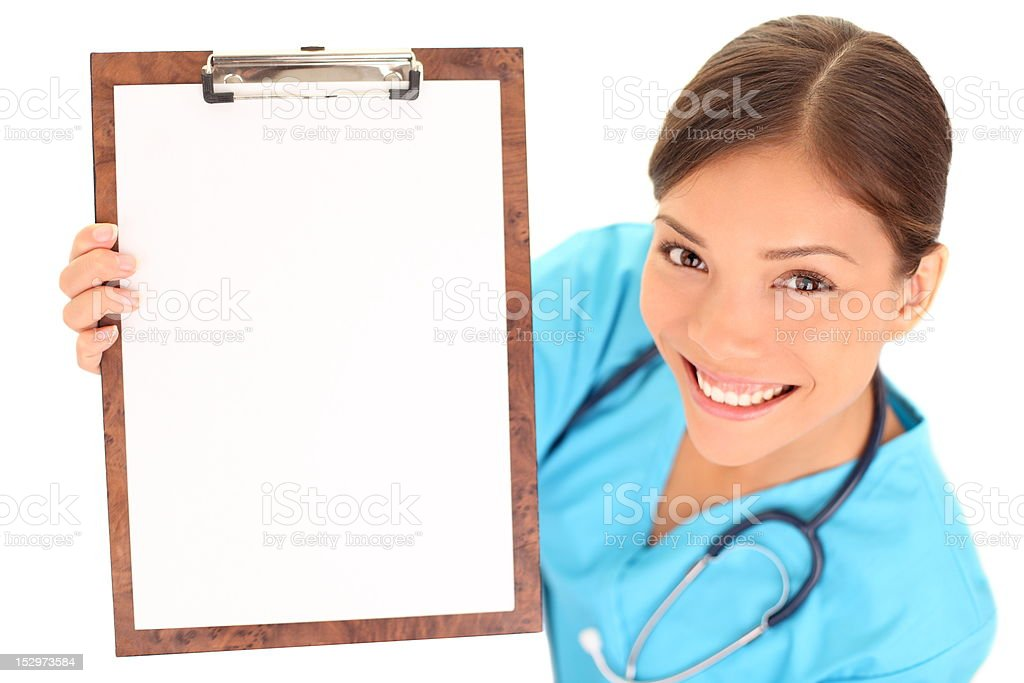 Nurse / doctor showing blank clipboard sign stock photo