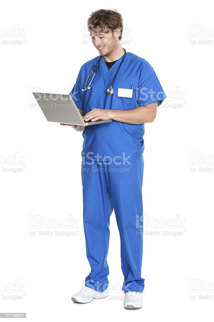 Nurse / doctor working on laptop stock photo