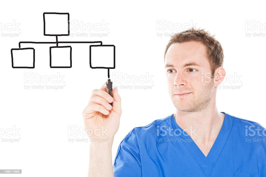 Nurse drawing graph royalty-free stock photo