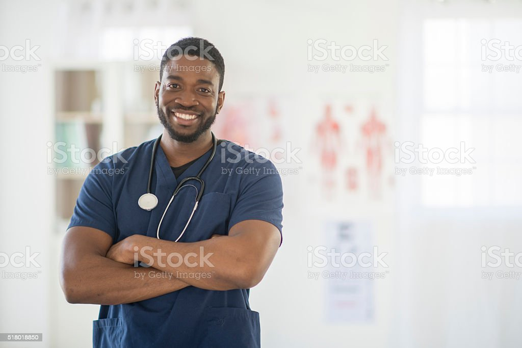 Nurse Happily at Work stock photo