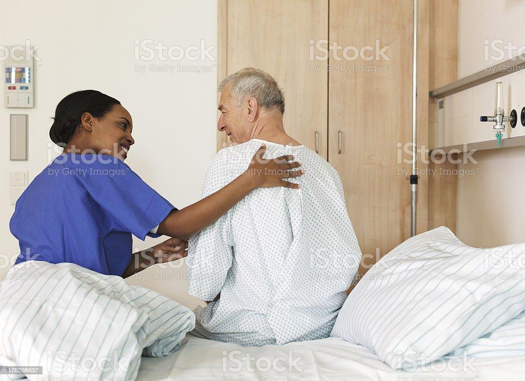 Nurse helping Patient stock photo