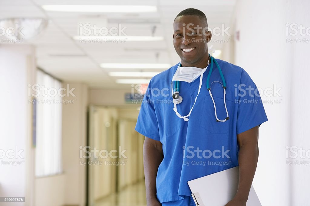 Nurse holding a clipboard stock photo