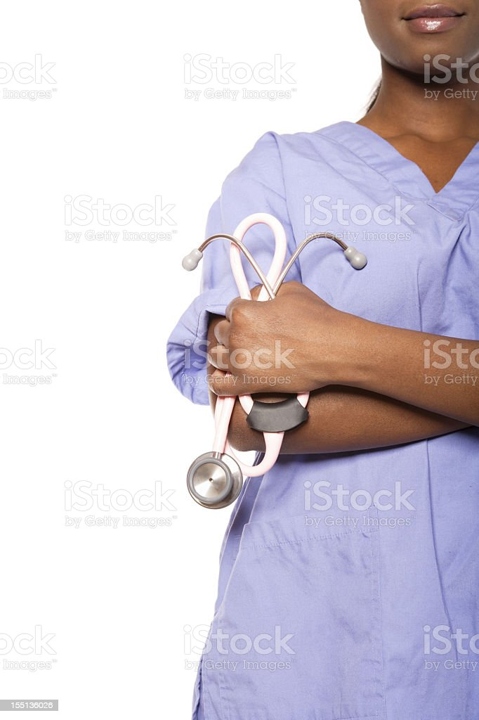 Nurse holding stethoscope royalty-free stock photo