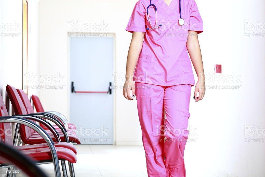 Nurse in Hospital Corridor royalty-free stock photo