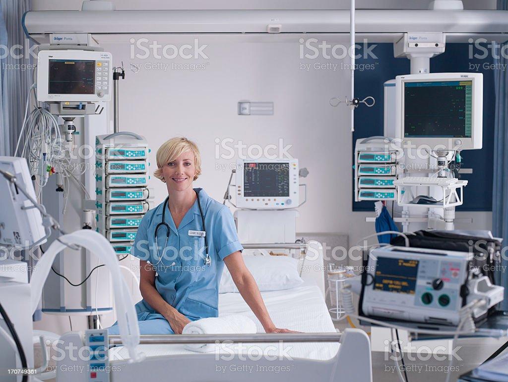 Nurse in intensive care stock photo