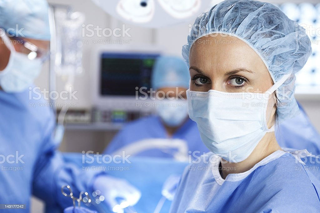 Nurse In Operating Room stock photo