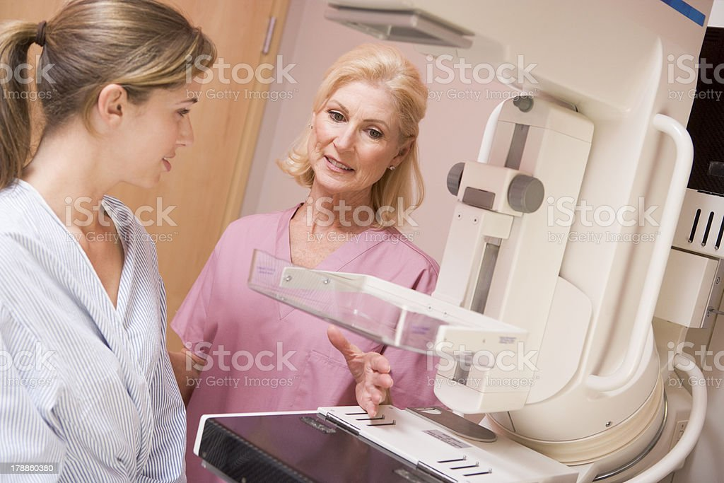 A nurse preparing a patient for her mammogram stock photo