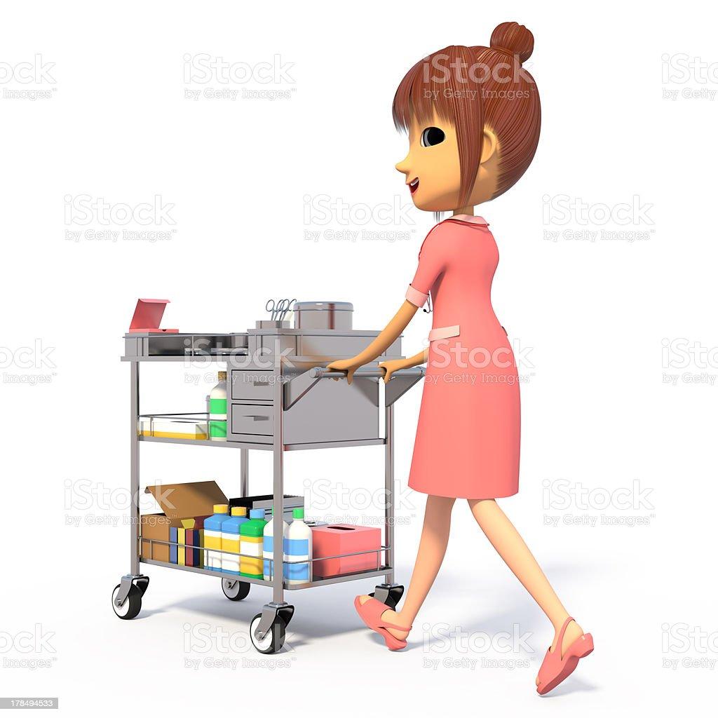 Nurse pushing the medical wagon. royalty-free stock photo