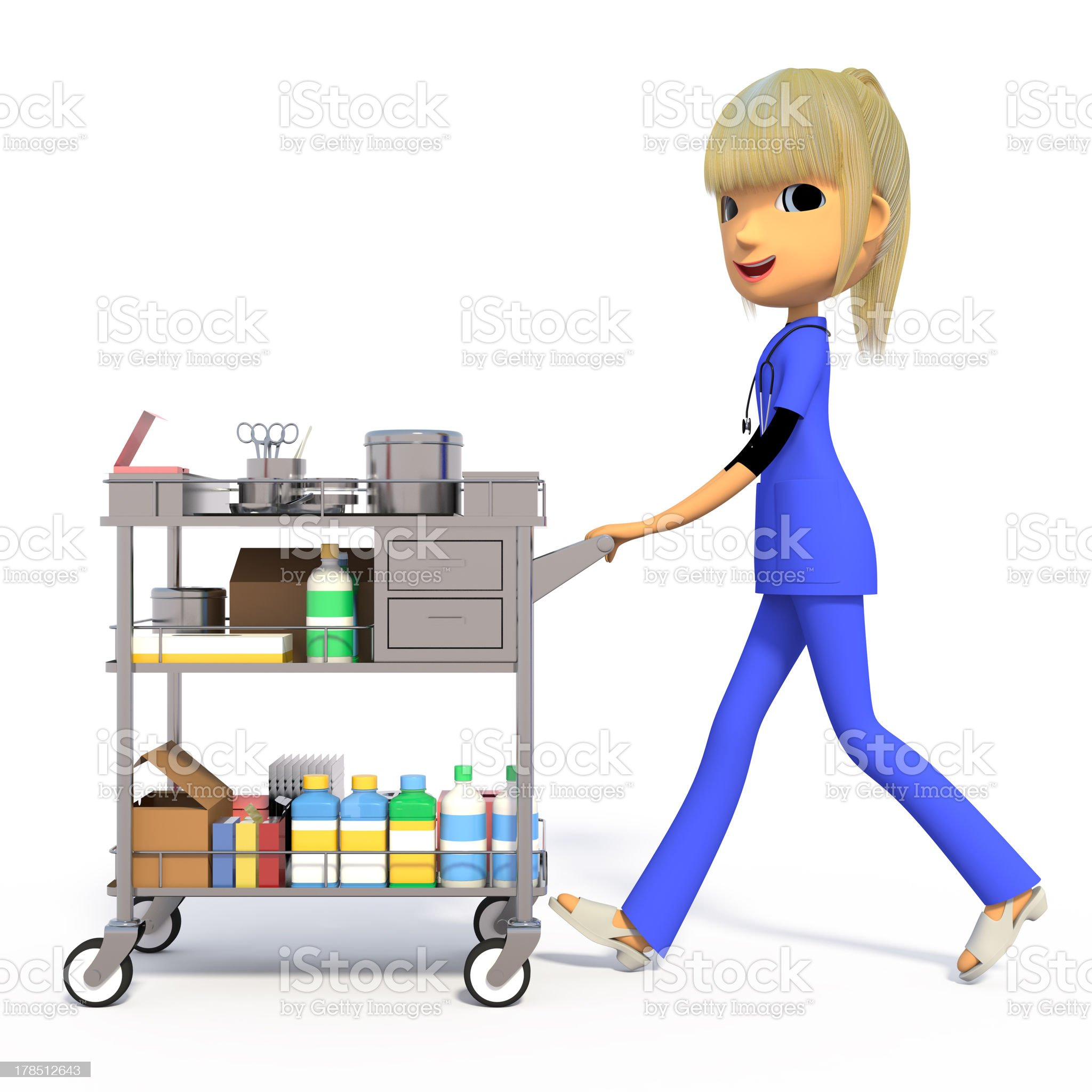 Nurse pushing the medical wagon. royalty-free stock photo