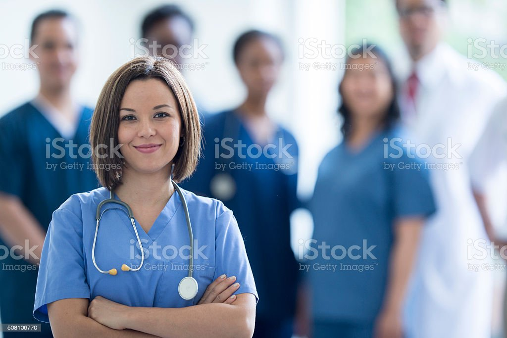 Nurse Standing in the Hospital stock photo