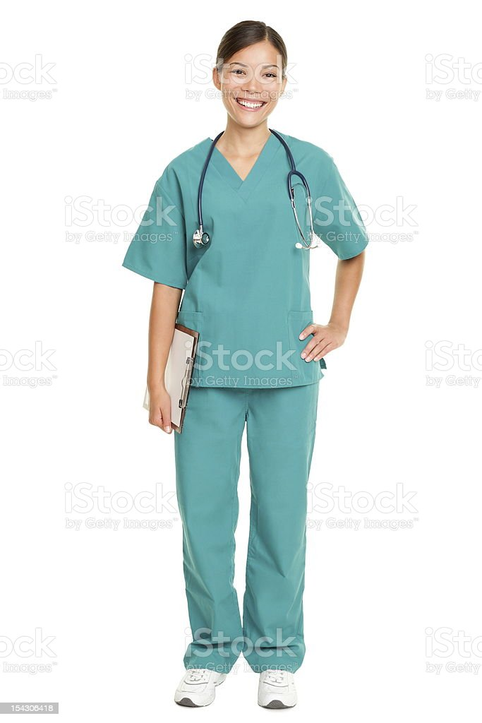Nurse standing smiling isolated stock photo