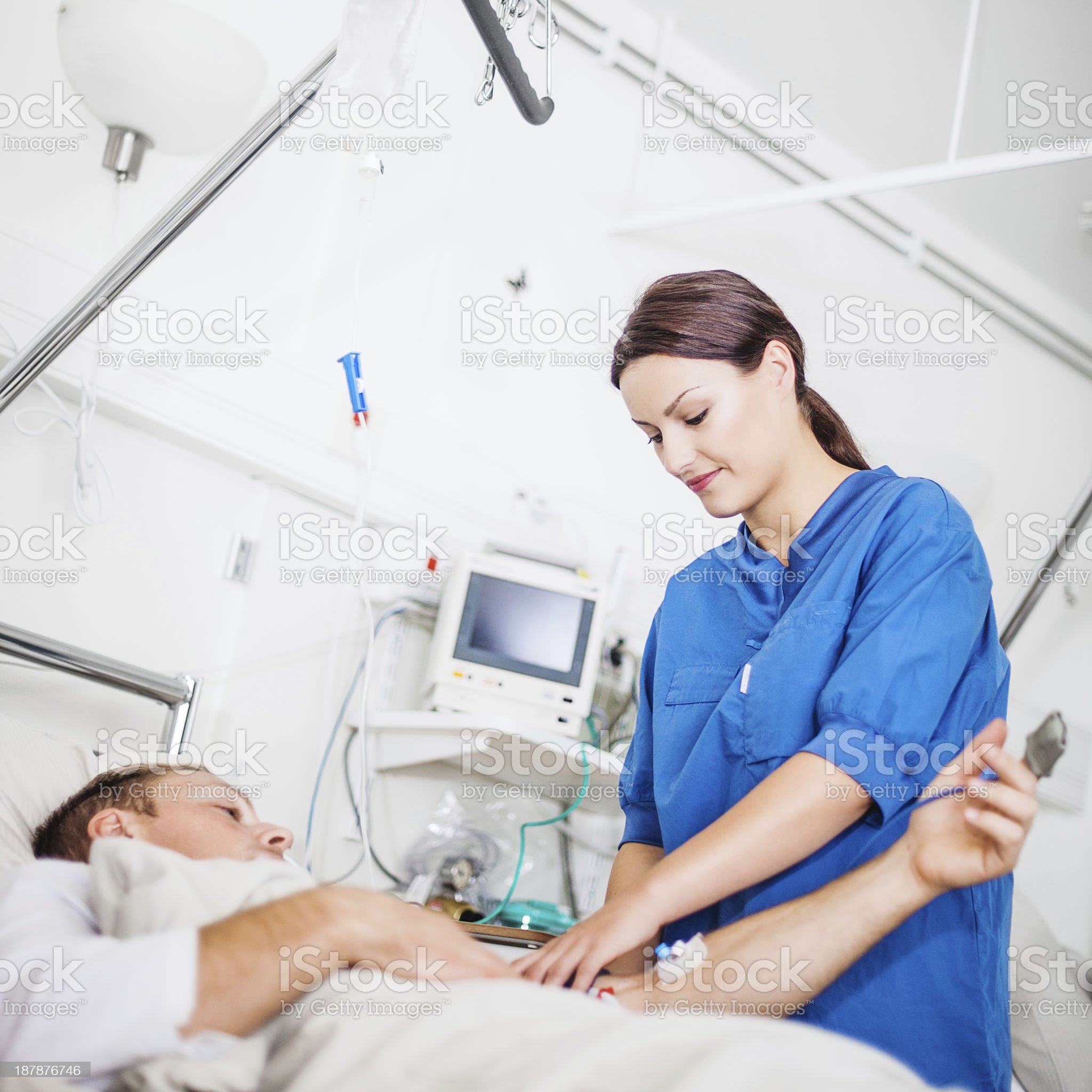 Nurse taking care of patient royalty-free stock photo