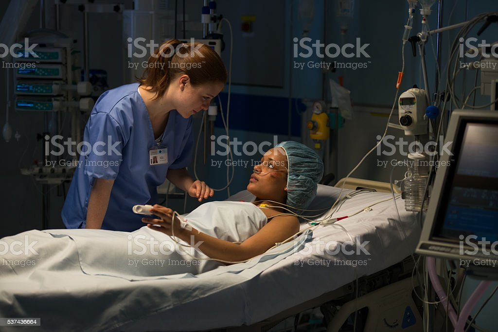 Nurse talking with patient stock photo