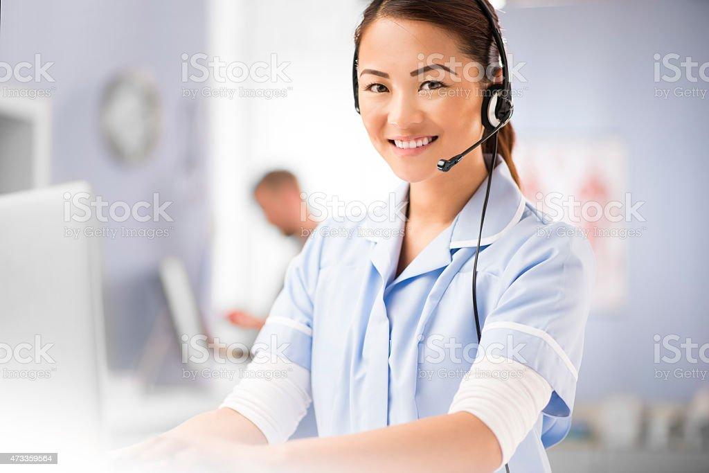 nurse telephonist stock photo