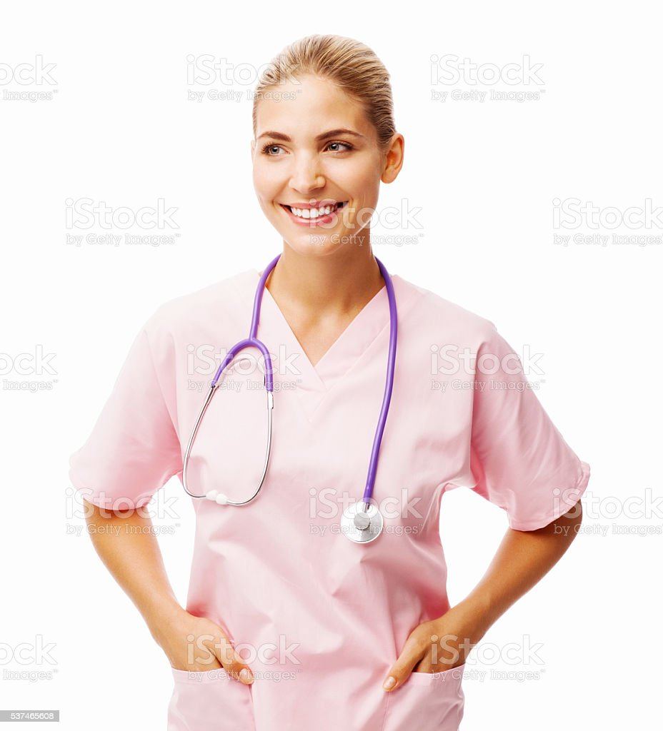 Nurse With Hands In Pockets Looking Away stock photo