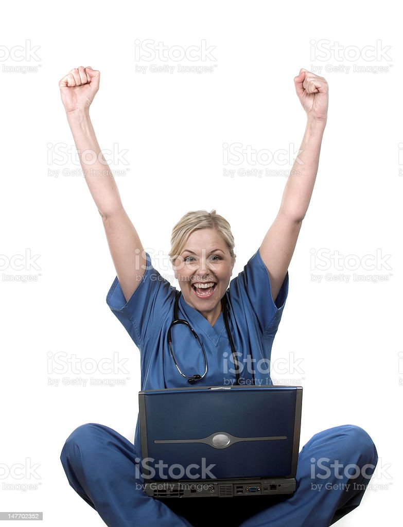 Nurse with laptop royalty-free stock photo