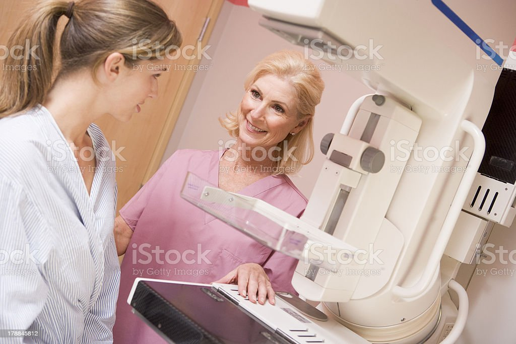 Nurse With Patient About To Have A Mammogram stock photo