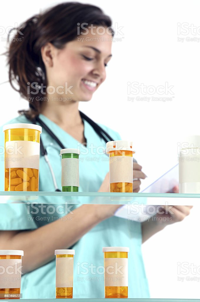 Nurse with prescriptions royalty-free stock photo