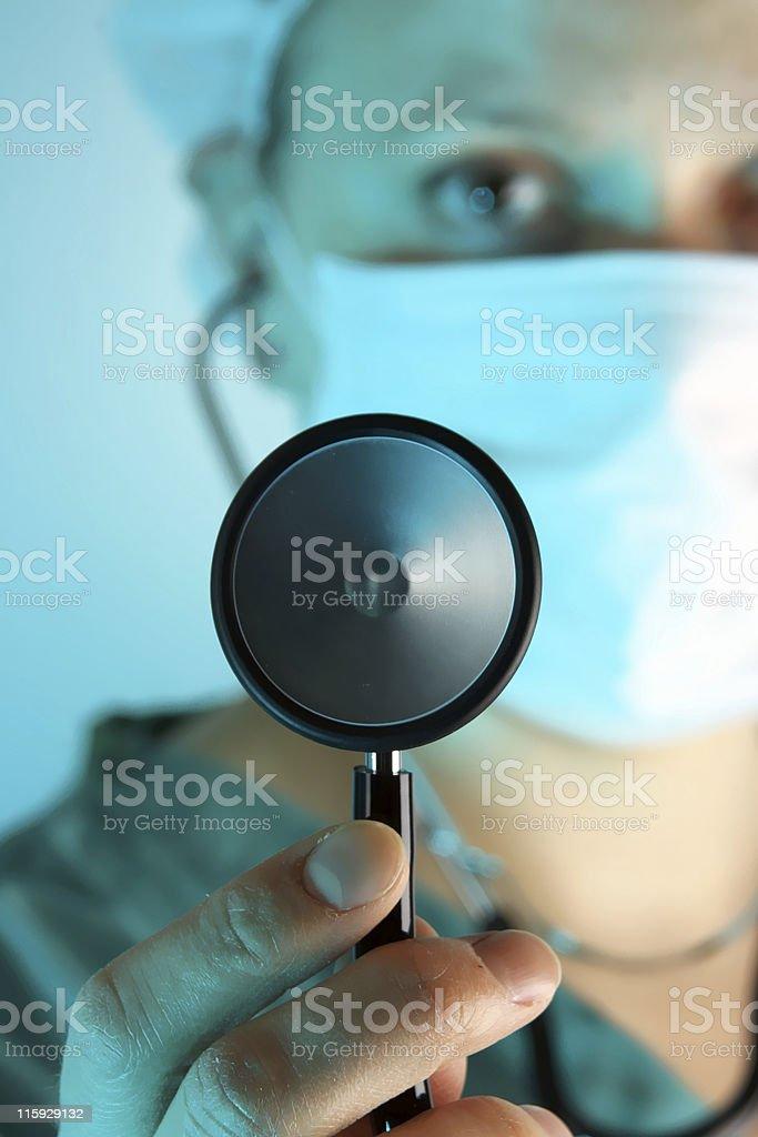 Nurse with stethoscope royalty-free stock photo