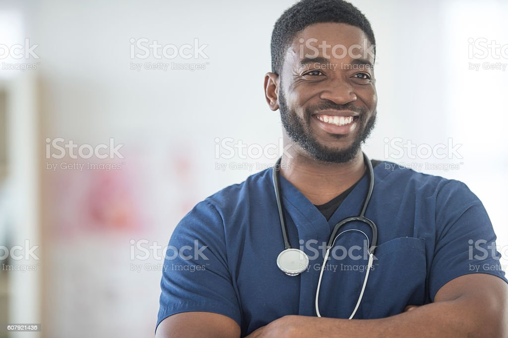 Nurse Working During His Shift stock photo