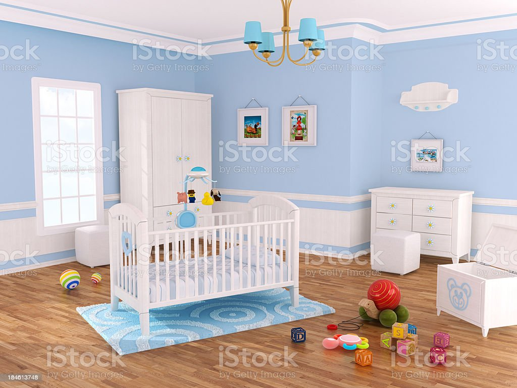 Nursery room (Blue) royalty-free stock photo