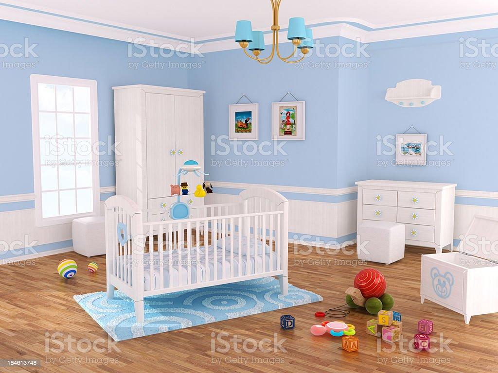 Nursery room (Blue) stock photo