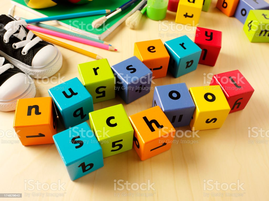 Nursery School in Toy Building Bricks royalty-free stock photo