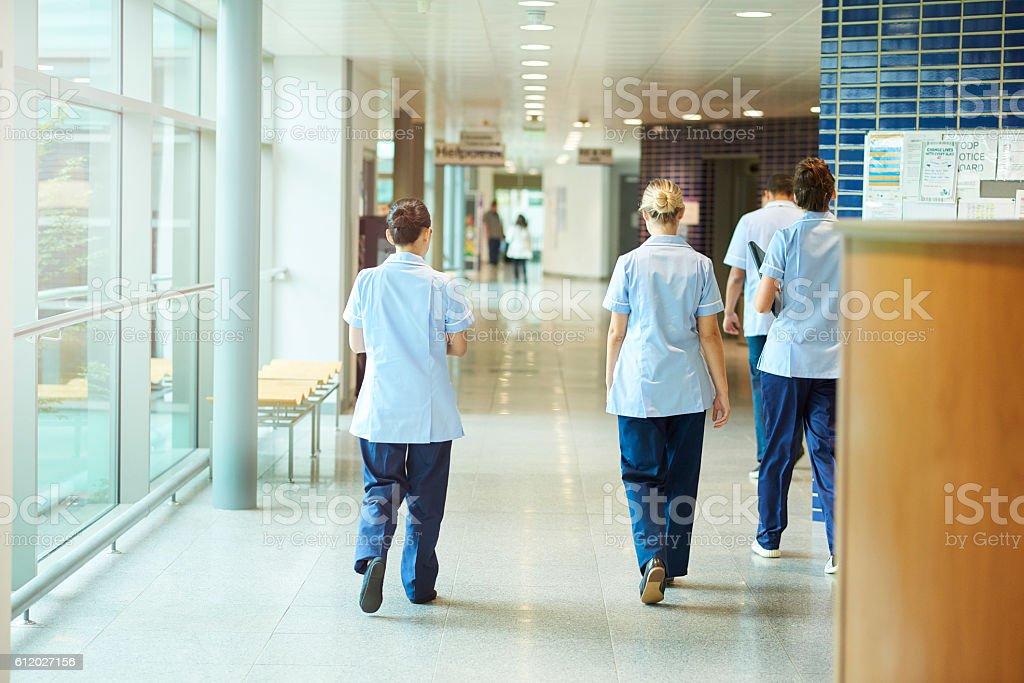 nurses in the hospital corridor stock photo
