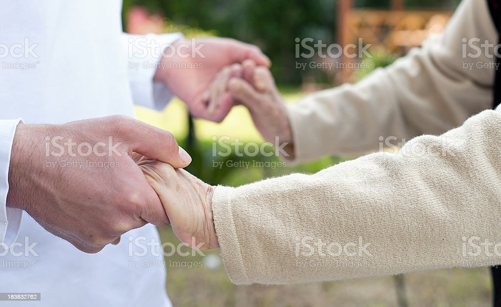 Nursing assistant for walking royalty-free stock photo