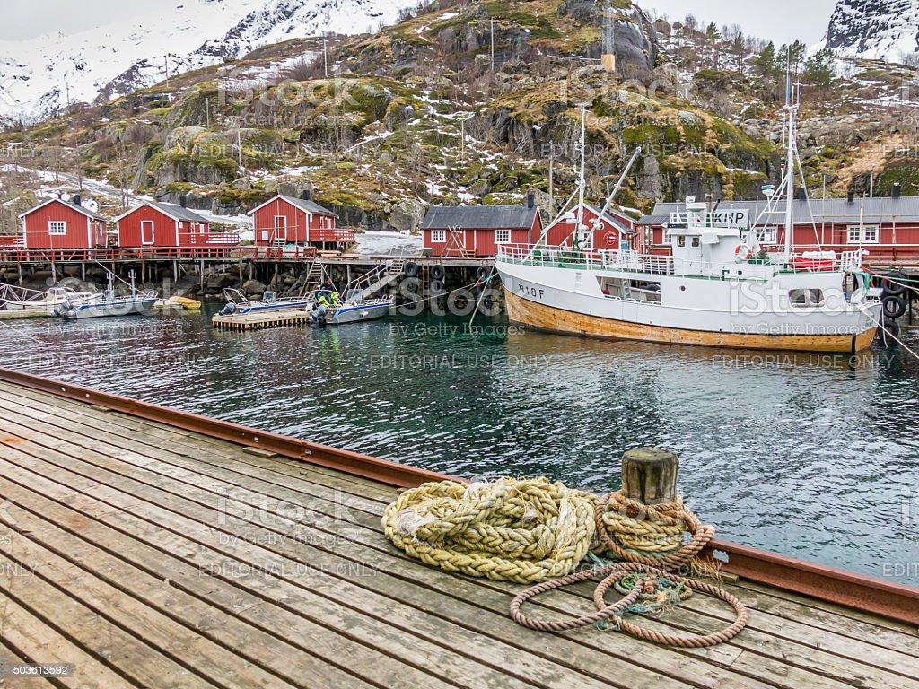 Nusfjord harbour, Lofoten, Norway stock photo