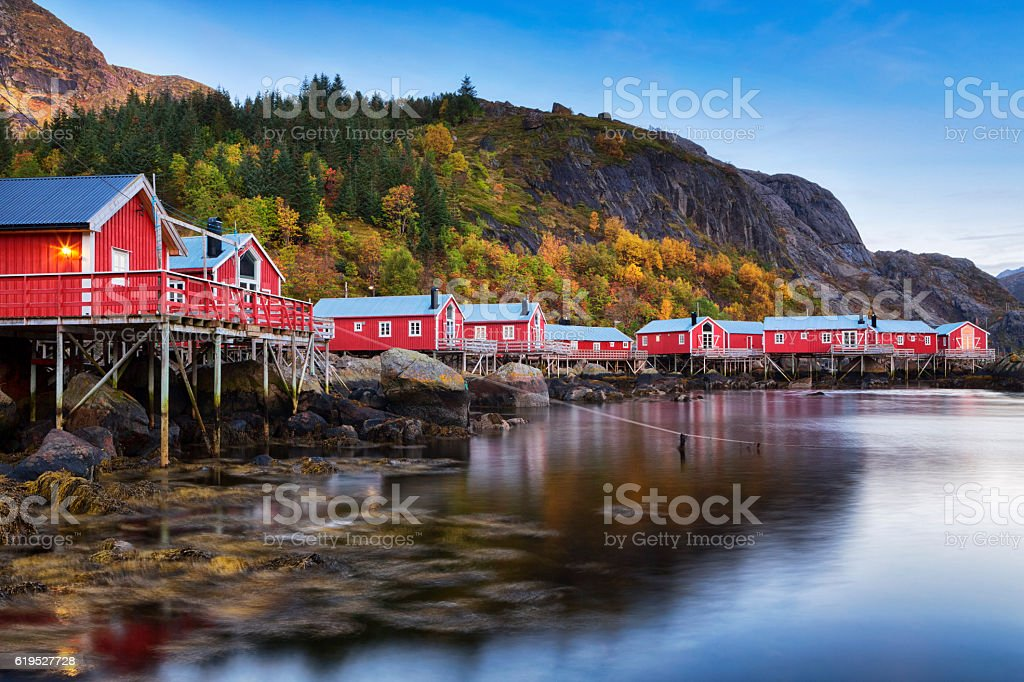 Nusfjord Village, Lofoten, Norway stock photo